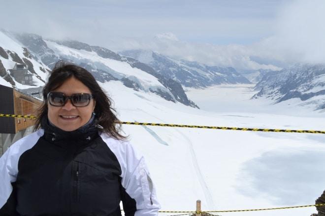 Cássia com o Glaciar Aletsch